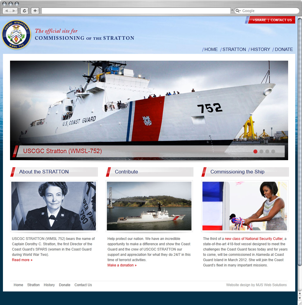 MJS Web Solutions Launches USCG Stratton Commissioning Website