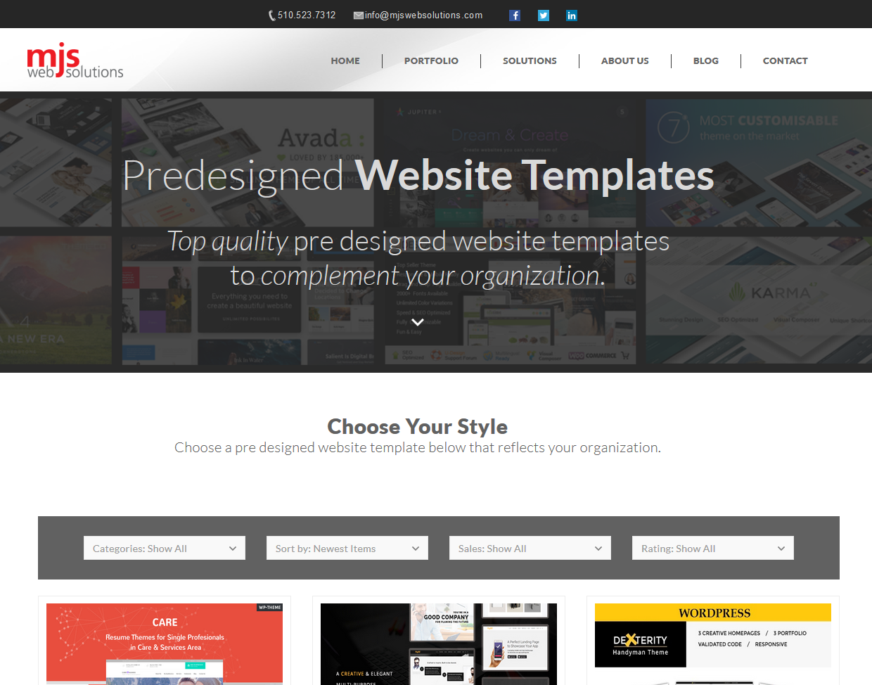 New Pre-Designed Website Template Page